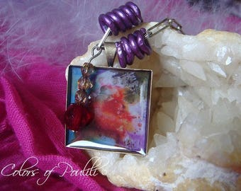 Necklace 'Abstract canvas' square - Poulili ©
