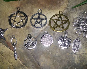 Lot of 10 Wiccan/Pagan Themed Charms
