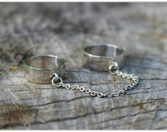 Unique Double Rings, Set of Two Rings, Cute Double Rings, Chain Statement Rings, Silver Double Chain Ring