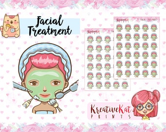 Facial Treatment | Planner Stickers | Pamper Yourself | Derma | Face Mask | Beauty Rest | Kawaii | Cartoon | Chibi | Functional