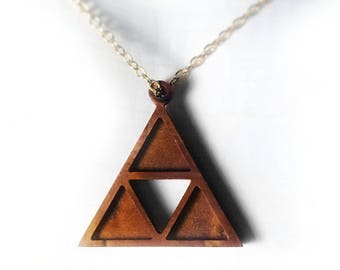 Wooden triangle necklace, triangle pendant necklace, gold plated chain necklace