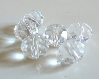 Set of 5 very sparkly clear faceted glass beads