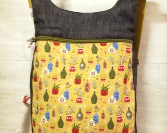 Japanese Vase backpack: Womens backpack purse - Fashion backpack - Canvas printed bag mustard - Ergonomic backpack - Backpack diaper bag