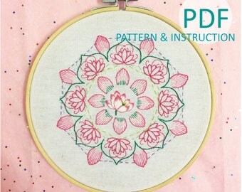 lotus | decorative picture | Room decoration | Hand Embroidery Pattern Instruction | Beginner Embroidery PDF Pattern | Instant Download