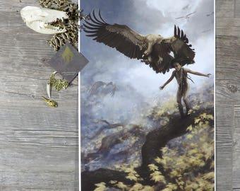 Harvest - Vulture - Art Print - Wild Animal - Magic - Fantasy Painting - Bird - Native Child Hunter - Fall Leaves - Autumn - Home Decoration