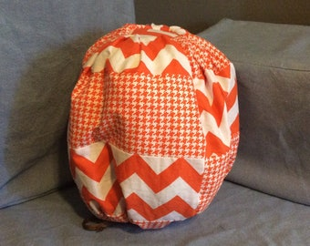 Chevron and Houndstooth cotton stuffed pumpkin- large