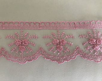 Ribbon lace 5.5 cm approximately pink tulle