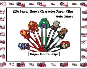Super Heros Paper Clips Hulk Cartoon Paper Clips Captain A Paper Clip Cartoon Character Paper Clip Super Hero Office Accessories Office Gift