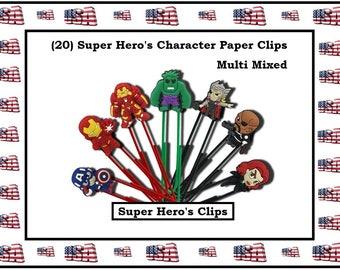 Super Heros Paper Clips Hulk Cartoon Paper Clips Captain A Paper Clip Cartoon Character Paper Clip Super Hero Office Accessories Office Gift