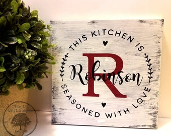 Superb Seasoned With Love | Personalized Kitchen Sign | Kitchen Wood Sign | Rustic  Kitchen Word Art