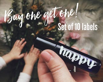 BOGO --> 10ml Essential Oil Roller Bottle Labels with Cursive or Plain Font Options - 10 Labels - 29 Color Options - LABELS only