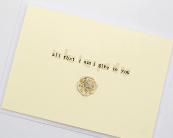 All That I Am I Give To You Wax Seal Dried Flower Wedding Card