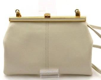 Jane Shilton • Real Leather Shoulder Bag With Gold Trim • Vintage Late 1980s / 90s