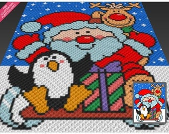 The Christmas Crew crochet blanket pattern; c2c, cross stitch; graph; pdf download; no written counts or row-by-row instructions