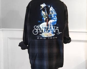 Santana Flannel Tee Carazon Concert t shirt men's medium new forest green and black plaid brushed cotton flannel shirt unisex