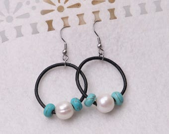 White Pearls Dangle Earring,Handmade Beaded Drop Earrings,Women Boho Freshwater Pearls Pendant Earring Jewelry,Blue Turquoise Stones