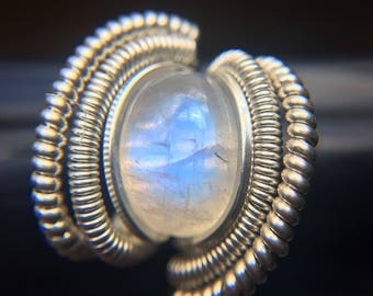Sterling Silver Wire Wrapped Rainbow Moonstone Ring, Wire Wrapped Jewelry, Heady Wire Wrapped Ring, Heady Wire Wrap, Heady Ring