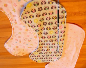 Set of 3 New, Handmade Contoured Baby Burp Cloths  <Free Shipping>