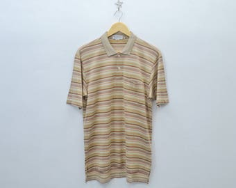 BURBERRYS Shirt Vintage 90's Burberrys Striped Polo Tee T Shirt Size Men's L