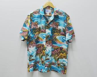 RJC Shirt Vintage RJC Beach Coast Theme All Over Print Made In Hawaii 100% Cotton Button Down Hawaiian Shirt Size M