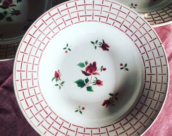 6 soup plates Digoin Sarreguemines. 1940's white, pink and green. Old dishes. antique french. french pink