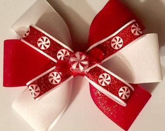 Peppermint Sparkles Glitter Christmas Hair Bow