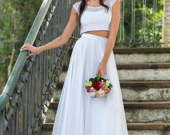 Modern Wedding Dress, Bridal Separates, Two Piece Crop Top Dress, Wedding Dress Separates, Lace Top