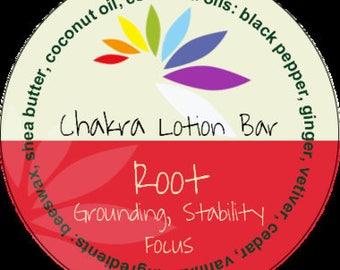 Root Chakra Lotion Bar #chakras #aromatherapy #tin #shea butter #blackpepper #ginger #vetiver #cedarwod #vanilla
