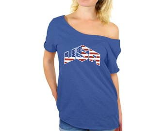 USA Flag Inside Off Shoulder Tops T shirts USA Off The Shoulder Shirts  Independence Day American Flag shirt America shirt