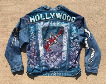 Vintage 1980's Airbrushed denim jacket Levis Hollywood Themed XL Mint condition bedazzled glamour celebrity Rare unisex jean jacket