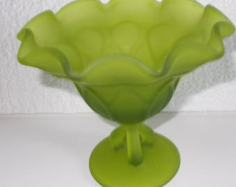 Green Glass Candy Dish Scalloped Edge Top with 3-Prong, Pedestal-base 5 inches High