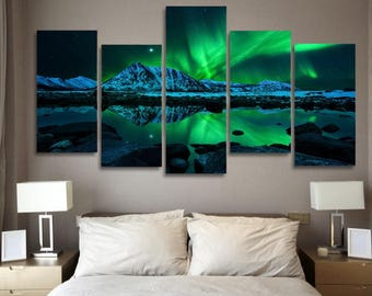 Aurora borealis Wall Art, Aurora Borealis Canvas Art, Aurora Borealis Green 5 Piece Canvas, Aurora Borealis Wall Decor, Framed