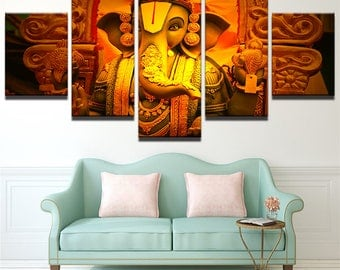 Large Ganesha Canvas Art, Ganesha Wall Art, Ganesha Canvas Print, Ganesha Hindhu 5 Piece Canvas Print, Ganesha Wall Decor, Framed