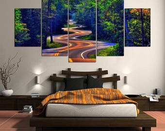 Forest Wall Art, Large Forest Canvas Art,Forest Wall decor, Forest Road 5 Piece Canvas Print, Framed