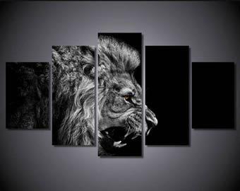 Lion Wall Art, Lion Canvas Art, Lion Wall Decor, Brown Eyed Lion 5