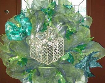 Blue and green Door Wall wreath