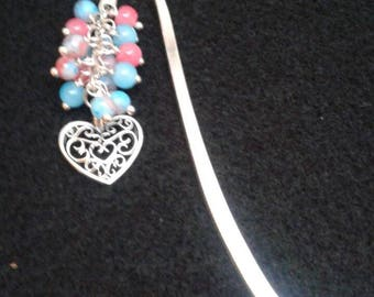 Filigree heart glass bead bookmark