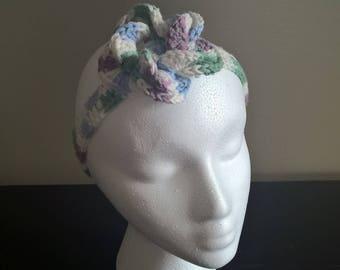 Flower Crochet Headband Shades of Blue Green and Purple
