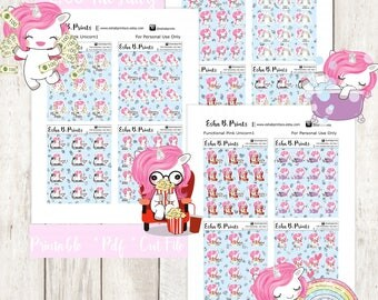 Two Dollar Tuesday Functional Unicorn Pink1 Printable Planner Stickers/Weekly Kit/For Use with Erin Condren/Cutfile Fall September