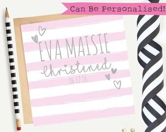 Personalised Christening Card/Baptism/Baby Girl/Customisable/Greeting Card/Goddaughter/Blank/Keepsake