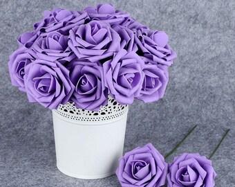 50pcs Table Centerpieces Pomander Kissing Ball Rose Flowers, Light Purple Foam Roses, Wedding Home Decorative Fake Flowers Arrangements