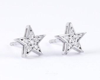 gold star earrings studs, Diamond Star Earrings, 14k solid gold earrings, Diamond Pave Star Stud Earrings, diamond star earrings