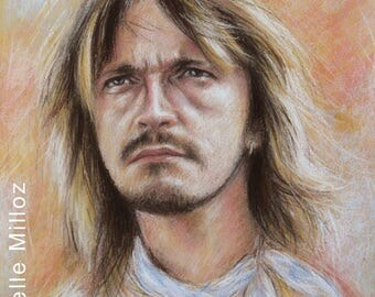 "Original portrait of Renaud pastels 33 x 43 cm 13 x 17 ""portrait of french singer"