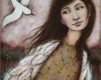 """Like you"" painting 50 x 70 cm, woman, bird"