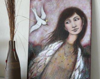 """Femme avec parure ailes , oiseau blanc couronné, clef d'or , liberté , s'envoler , Peinture """"Comme toi"""" + cadeau collier pendentif clef"""