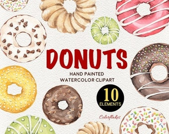 Spring Sale Sweet Donuts , Watercolor Donuts Clipart