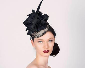 Cocktail Hat 'Oh la la' - Formal, Occasion Hat - pillbox hat - Wedding Millinery - Fascinator Hatinator Headpiece -  Percher Hat