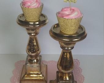 12 Crown Ballerina Cupcake Toppers, Ballerina Crown, Ballerina Party Decoration, Gold glitter cupcake toppers. Birthday decorations.