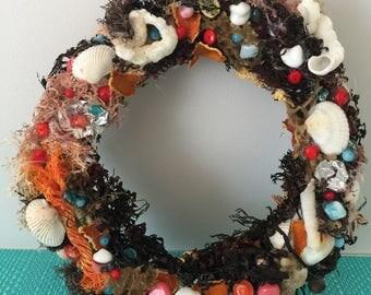 Wreath, marina, coastal, seashells, sea sponge, sea weeds, boho