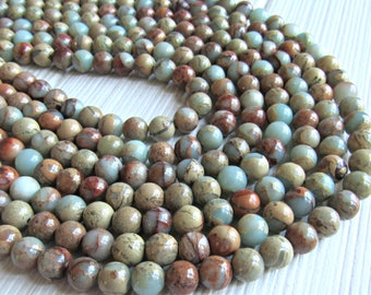 Aqua terra Jasper, 8mm beads, impression jasper, african opal 8mm beads, Jasper beads, aqua beads, blue beads, gemstone beads, 8mm gemstone